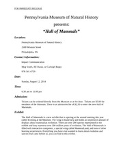 Hall of Mammals Fact Sheet