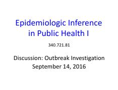 Activity Discussion Outbreak Investigation - 1 slide per page