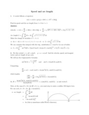 Speed and arc length study guide