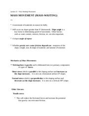 Lecture 11- Mass Wasting-Movement