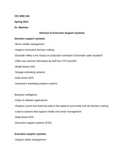 CIS 3392.163 Notes on Decision & Executive Support Systems