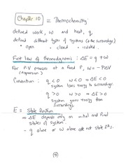 CHEM 100 First Law of Thermodynamics Notes