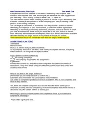 Brandon Davis_MM575  Week ONE Advertising Plan Topic Submission Form