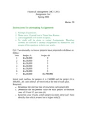 Financial Management - MGT201 Spring 2006 Assignment 02