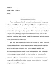 Honors Global Management Approach Homework