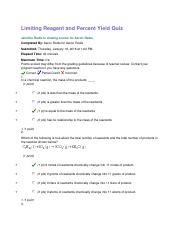 6.4 Limiting Reagent and Percent Yield Quiz.docx