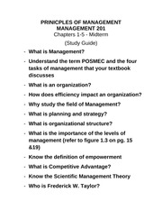 FALL 2014  Study Guide Mgmt 201 - Midterm Chp 1-5 (2)