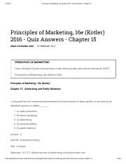 Principles of Marketing, 16e (Kotler) 2016 - Quiz Answers - Chapter 15
