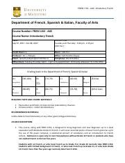 Course Outline pdf - FREN 1152 A04 Introductory French Department of