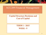 Week 9- Capital Structure Decision and Cost of Capital