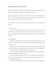Statement of internal control