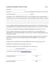 Sample Interview Consent Form