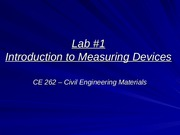 Lab 1 Introduction to Measuring Devices