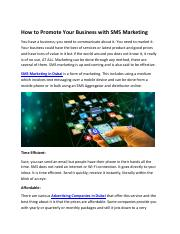 How to Promote Your Business with SMS Marketing