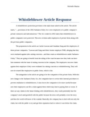 Whistleblower Article Response