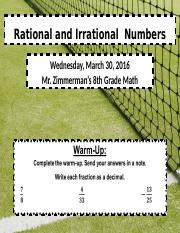 Wednesday_Rational and Irrational  Numbers