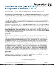 Commercial Law Assignment Semester 2 2018.docx