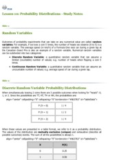 INTE 296 - Lesson 10 Probability Distributions
