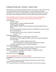 Biology 352 Study Guide – Final Exam – Genetics Portion (1)