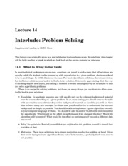 Interlude: Problem Solving notes