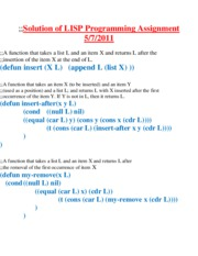 Solution of LISP Assignment 2011