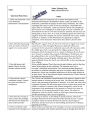 W HIST Cornell Notes- Reformation and Nationalism