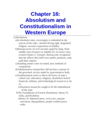 Chapter 16- Absolutism and Constitutionalism in Western Europe