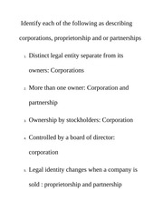 Identify each of the following as describing corporations Class Notes