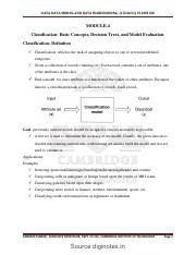 DATA DATA MINING AND DATA WAREHOUSING 15CS651 VI SEM CSE