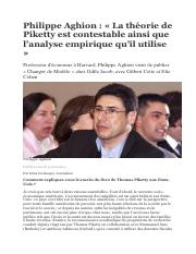 Complement Chapitre 7 Aghion versus Piketty