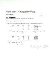 MINE 2514 Worksheet 5