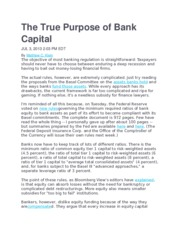 The True Purpose of Bank Capital
