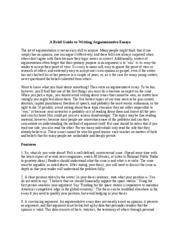 A Brief Guide to Writing Argumentative Essays