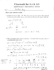 MATH 131.00(7,8) CLASSWORK 3.4 & 3.5 SOLUTION