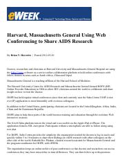 Harvard, Massachusetts General Using Web Conferencing to Share AIDS Research