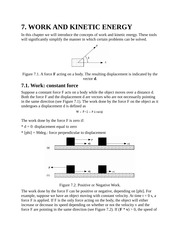 Work and Kinetic Energy, Constant Force, Variable Force, Work in 2D, Power Notes