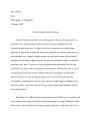 a modest proposal satire essay ap english alex williams kurtz ap  a modest proposal satire essay ap english alex williams kurtz ap language and composition 10 2015 a modest proposal satirical analysis