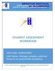 AURAMA005 Manage complex customer issues in an automotive workplace.docx