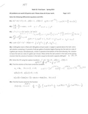 Math 55 Final Exam Spring 2014 SOLUTIONS