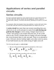 Applications of series and parallel circuits