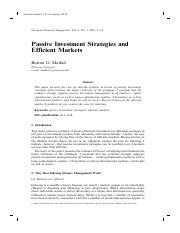 Extra Note - Passive Investment Strategies - Malkiel 2003.pdf