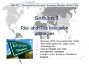 NBA 5911. Winter 2014. Session 3. Risk and Risk Mitigation Strategies