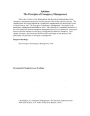 Syllabus - Principles and Practice of Emergency Management