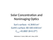 Solar Concentration and Nonimaging Optics