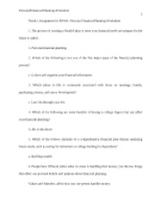Week 1 Assignment - Personal Finance Planning Worksheet