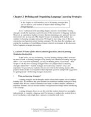 Defining and Organizing Language Learning Strategies