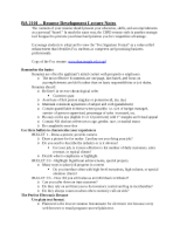 BA 2101 Resume Development Lecture notes