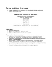 Format for Listing References