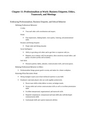 Chapter 11 Professionalism at Work Business Etiquette Ethics Teamwork and Meetings