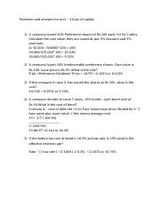 Problems and answers for unit 3-Cost of capital Revised